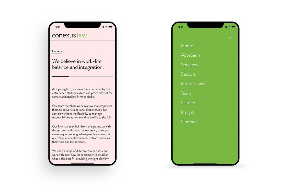 Conexus Law Website Careers Menu